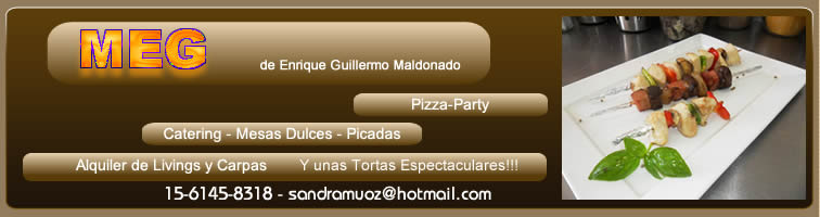 MEG, pizza party, catering, livings y carpas